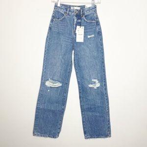 NWT Zara Denim Wide Leg High Rise Button Fly Jeans